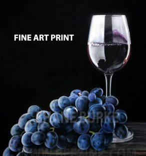 Grapes and wine print